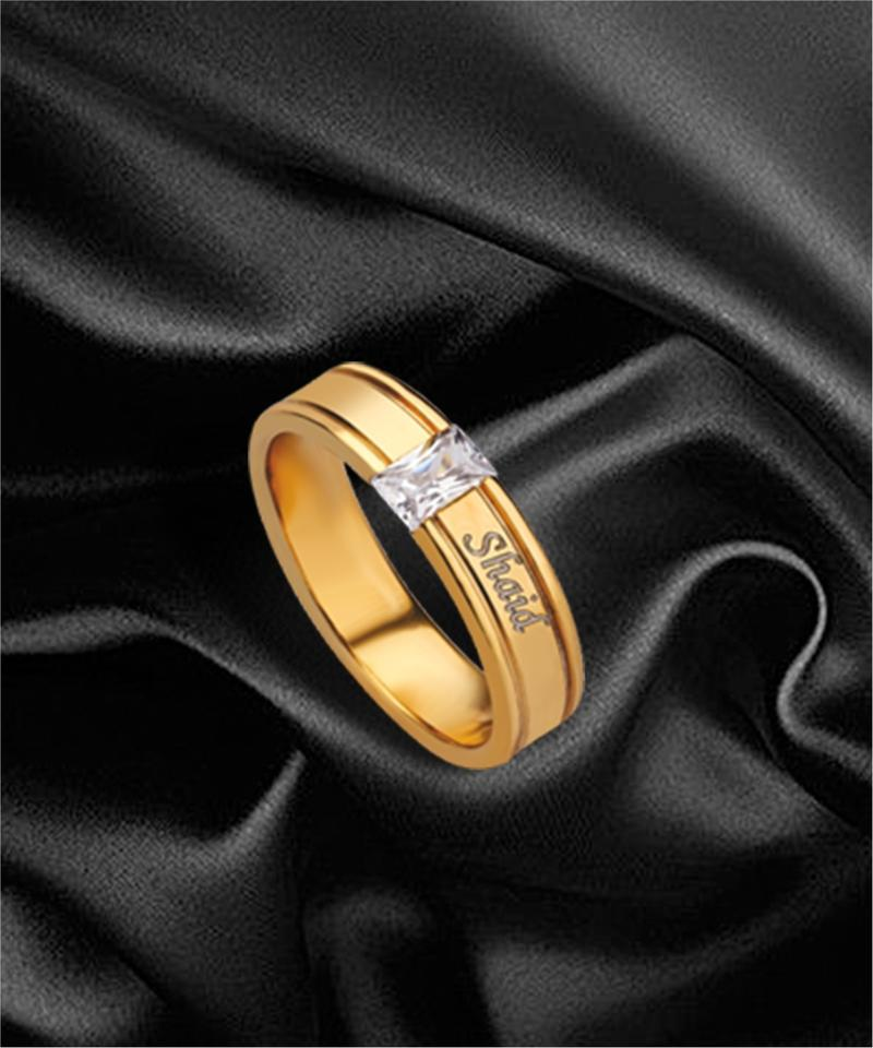 Customized Name Golden Polish Finger Ring For Men's/Boy's - M-18