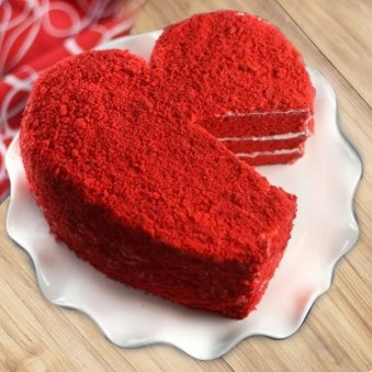 RED VELVET HEART SHAPED CAKE