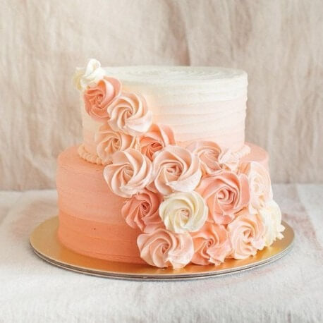 2 TIER PEACH FLORAL CAKE