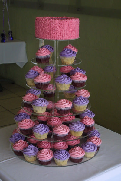 PINK AND VIOLET COMBO OF CAKE AND CUPCAKES