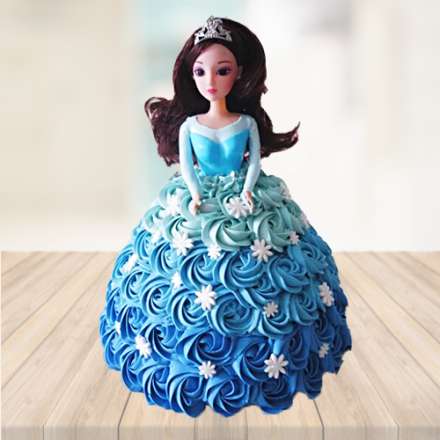 BLUE FLORAL FROZEN THEME DOLL CAKE