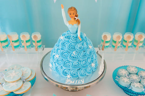 SKY BLUE FROZEN THEME DOLL CAKE