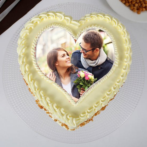 HEART BUTTERSCOTCH PHOTO CAKE