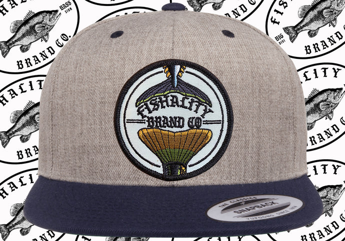 2 Tail Logo Patch Style Flat Bill SnapBack - Canvas / Mesh