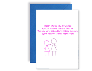 Sister, We Are Best Friends Poem - Card