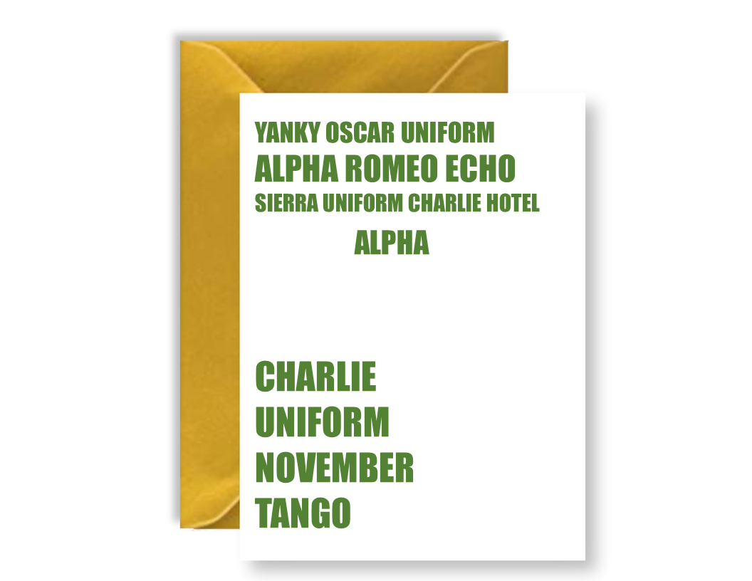 Yankee Oscar November Charlie Uniform November Tango - Card