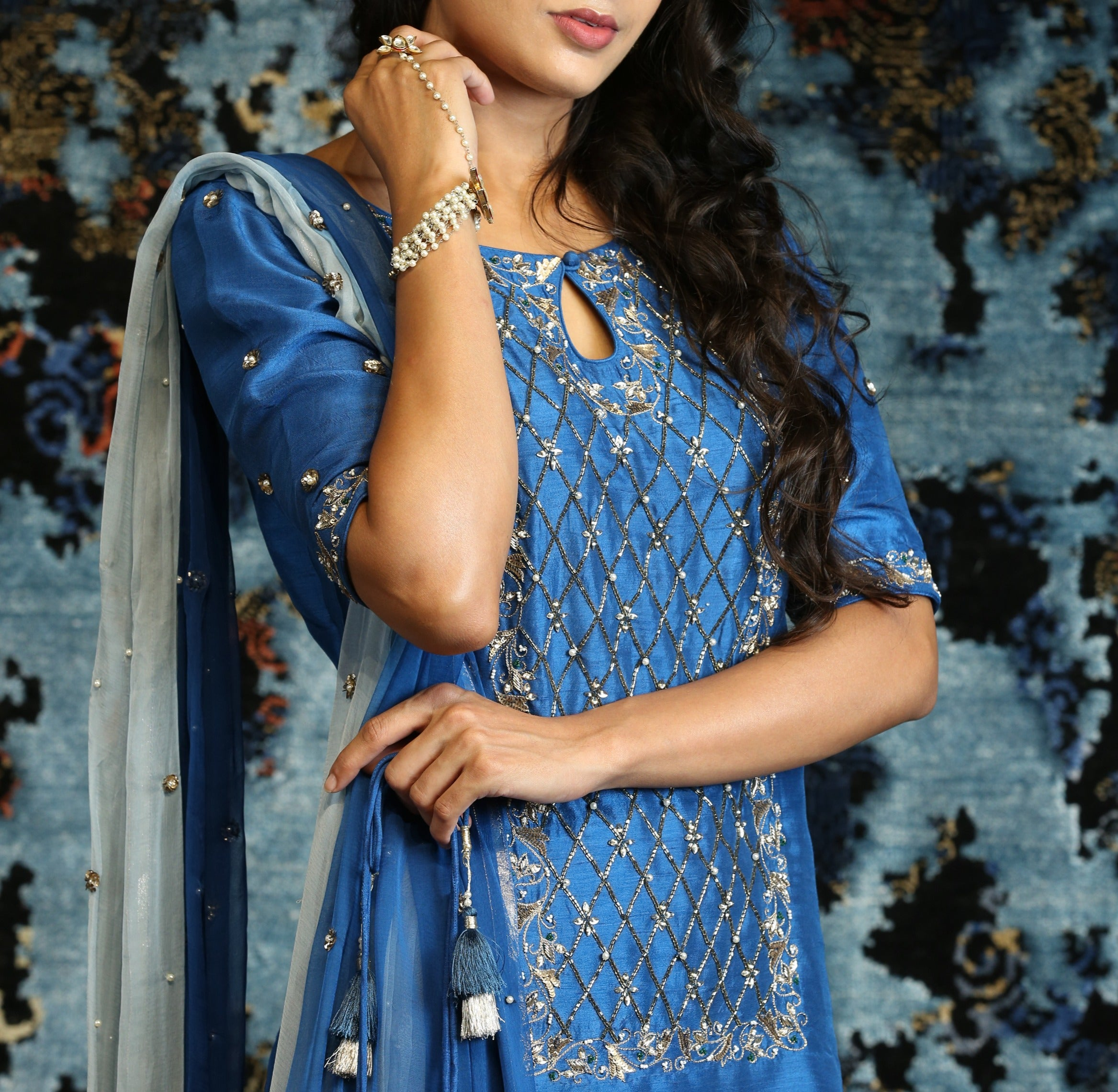 Blue Sharara Kurta Set
