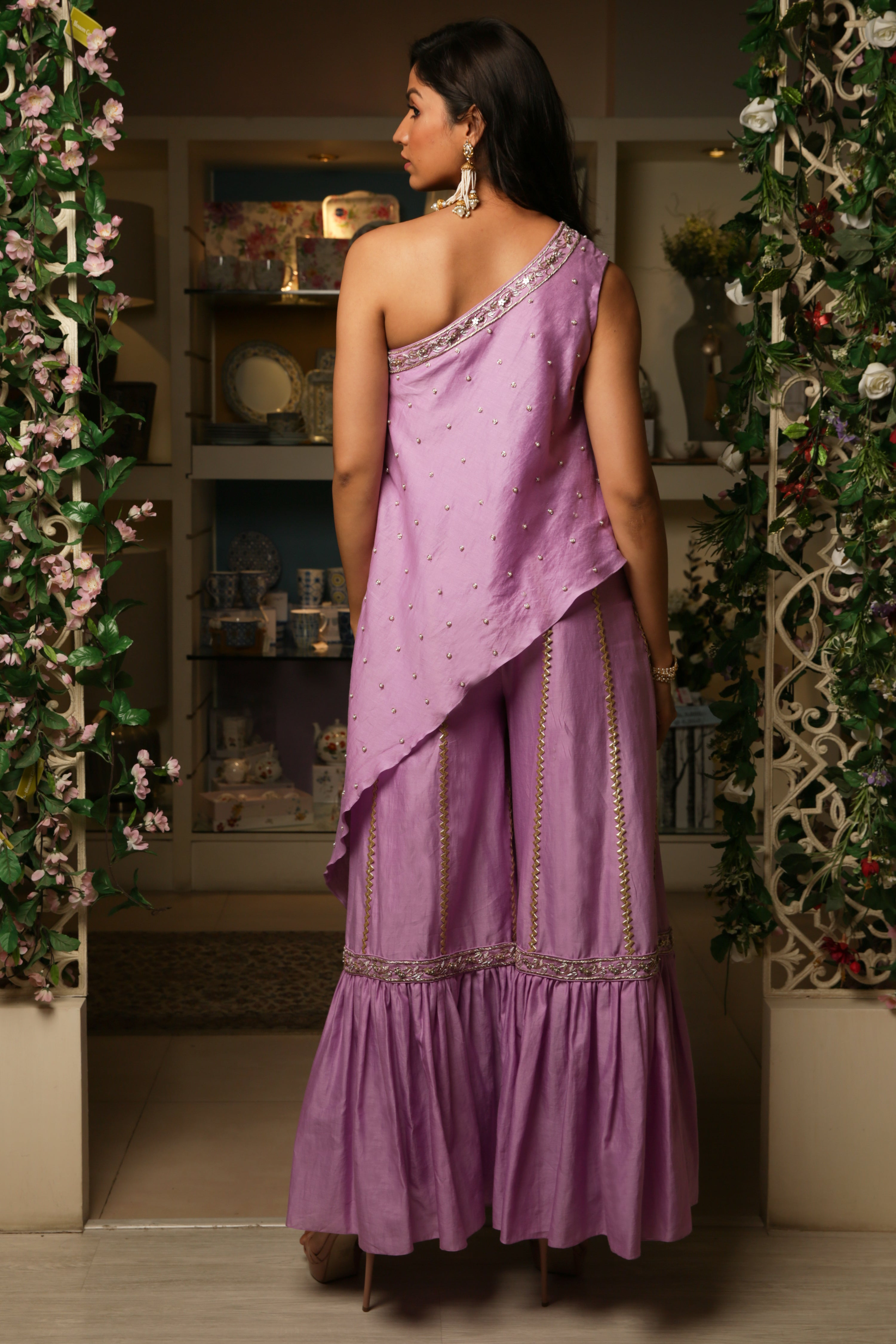 Lilac One Shoulder Tunic Set