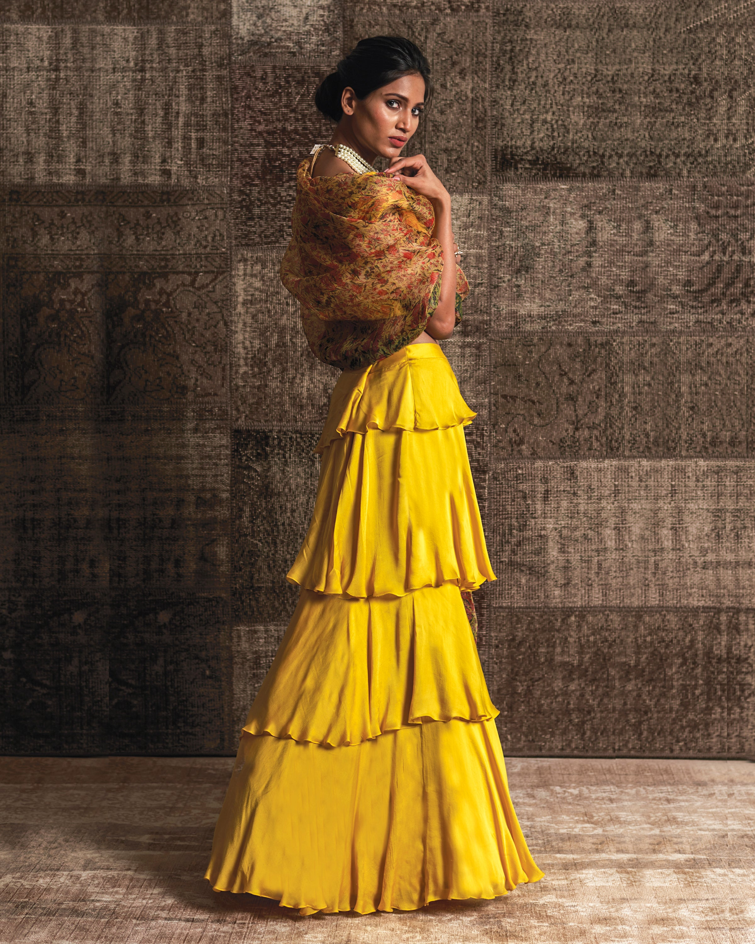 Yellow Tiered Lehenga Set