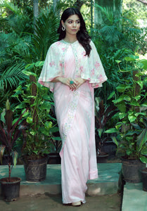 Blush Pink Pre-Draped Sari with Cape