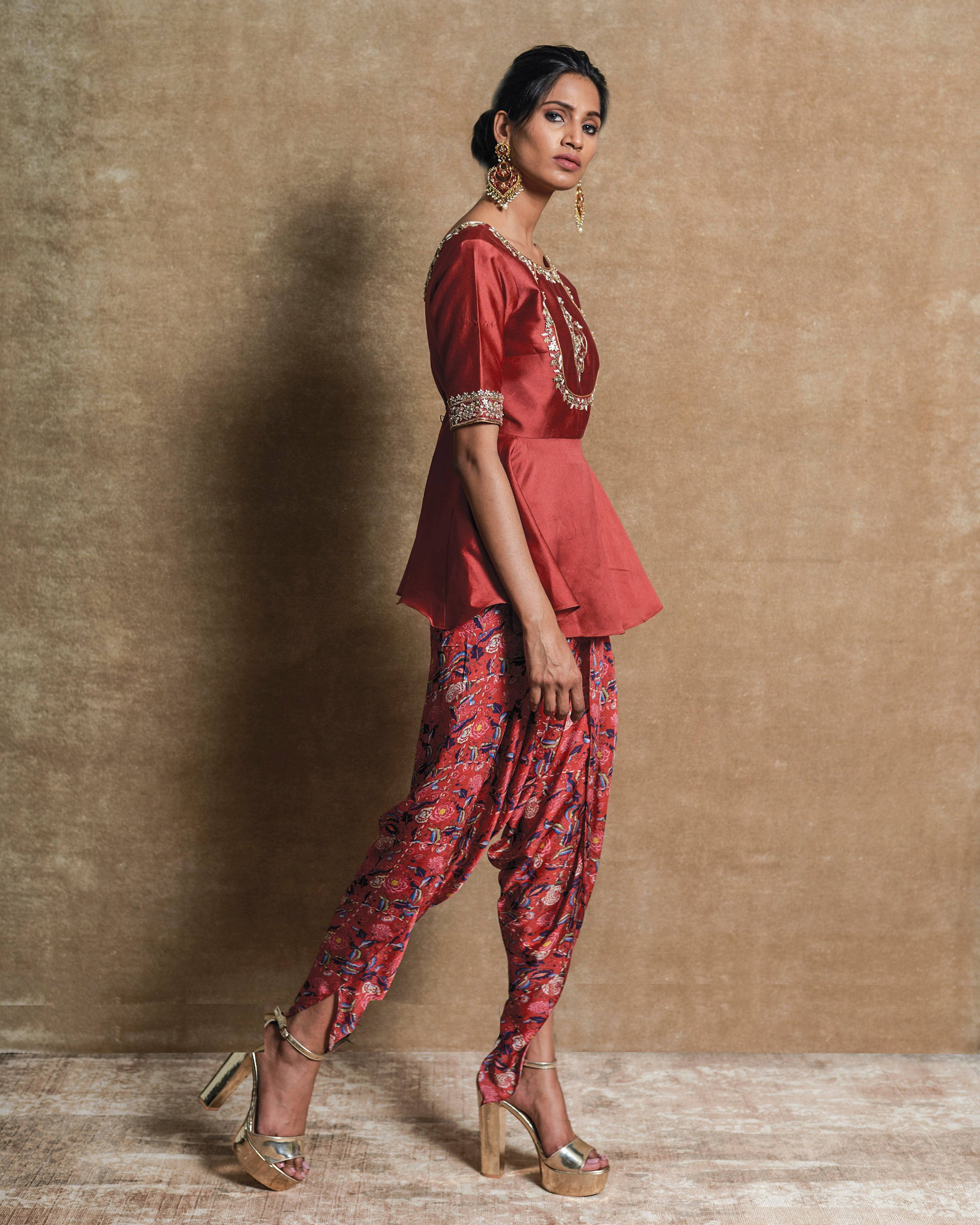 Red Embroidered Kurta with Dhoti Pants