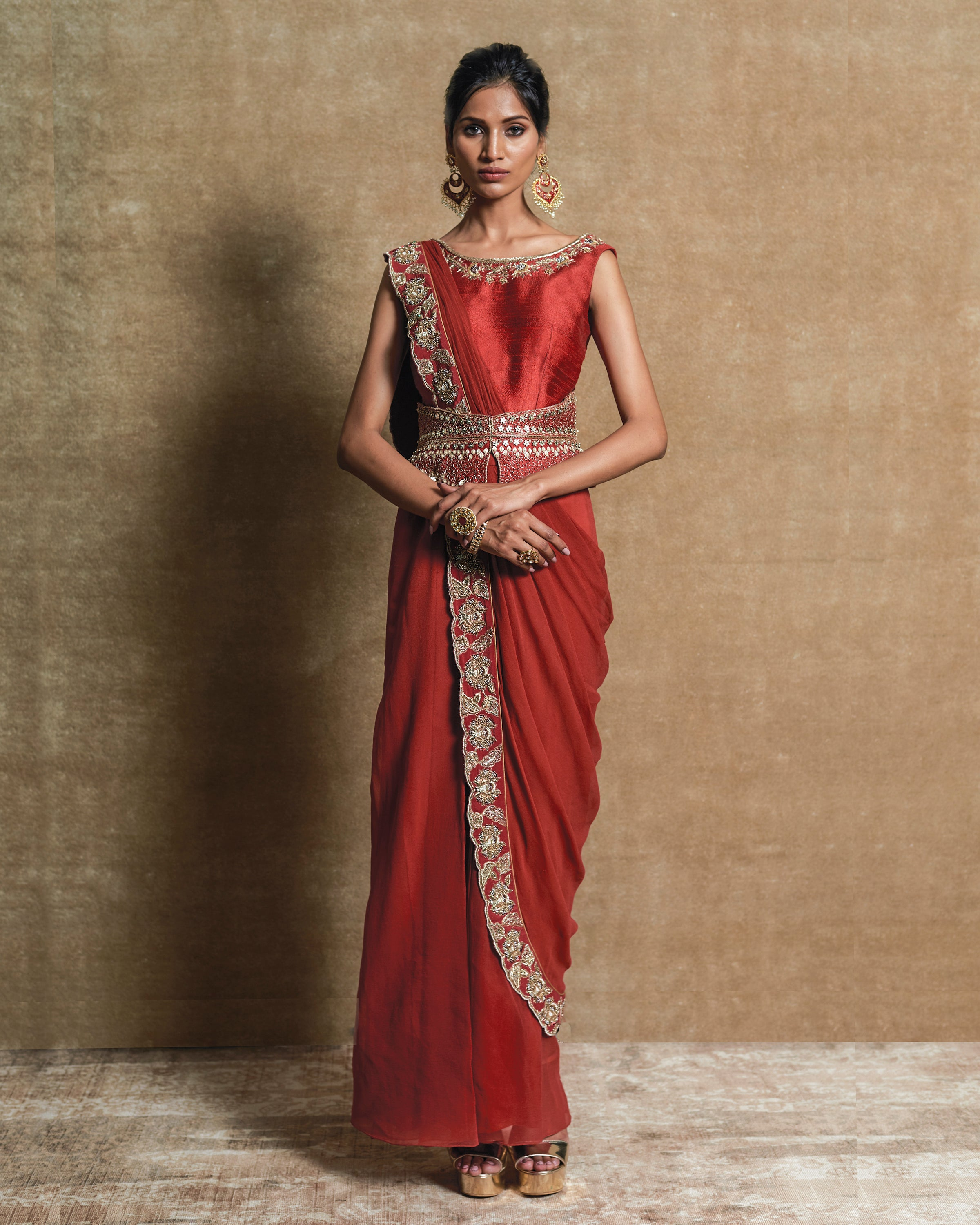 Red Embroidered Pre-Draped Sari
