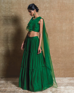 Green Drape top with Skirt