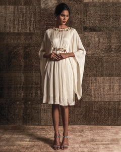 White Emroidered Pleated Dress