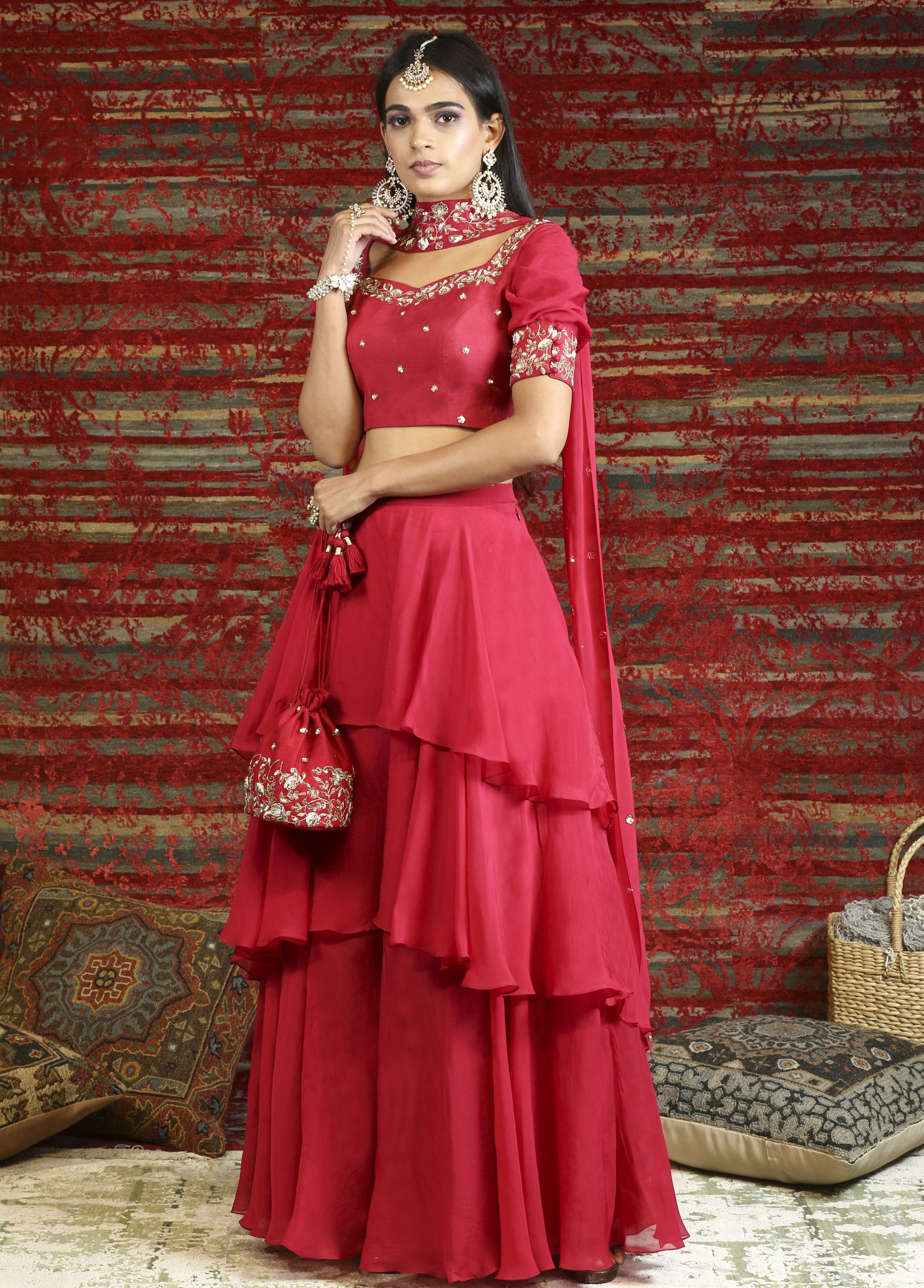 Red Tiered Lehenga with Blouse and Dupatta