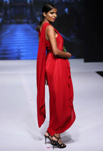 Red Pre-Draped Saree with Belt