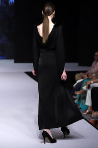Black Drape Gown with Belt