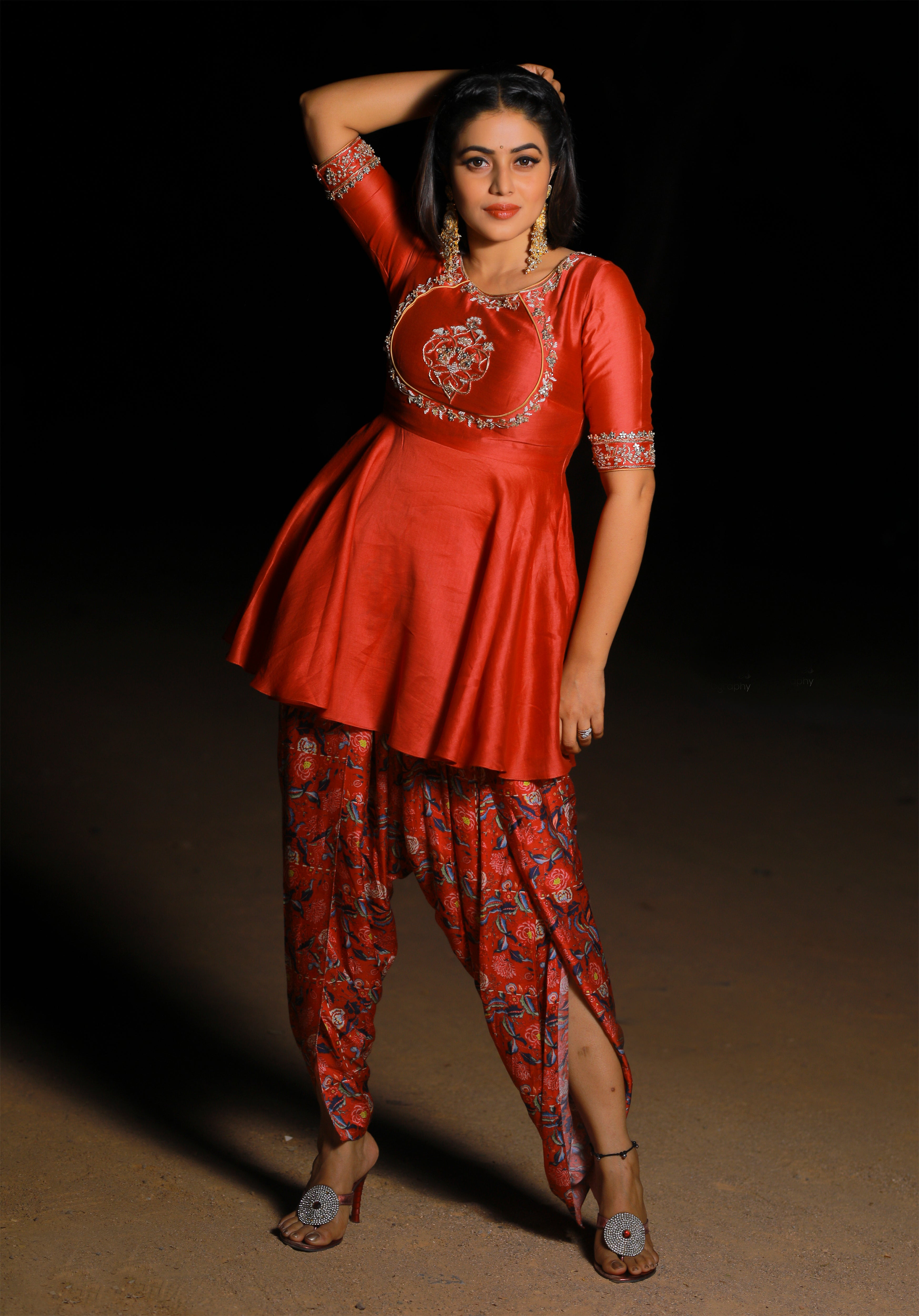 Shamna Kasim in Printed Dhoti with Koti Top