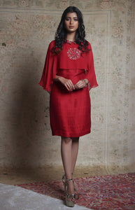 Red Dress with Attached Layer