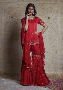Red Embroidered Gharara Set