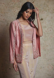 Embroidered Jacket With Beige Pant Top