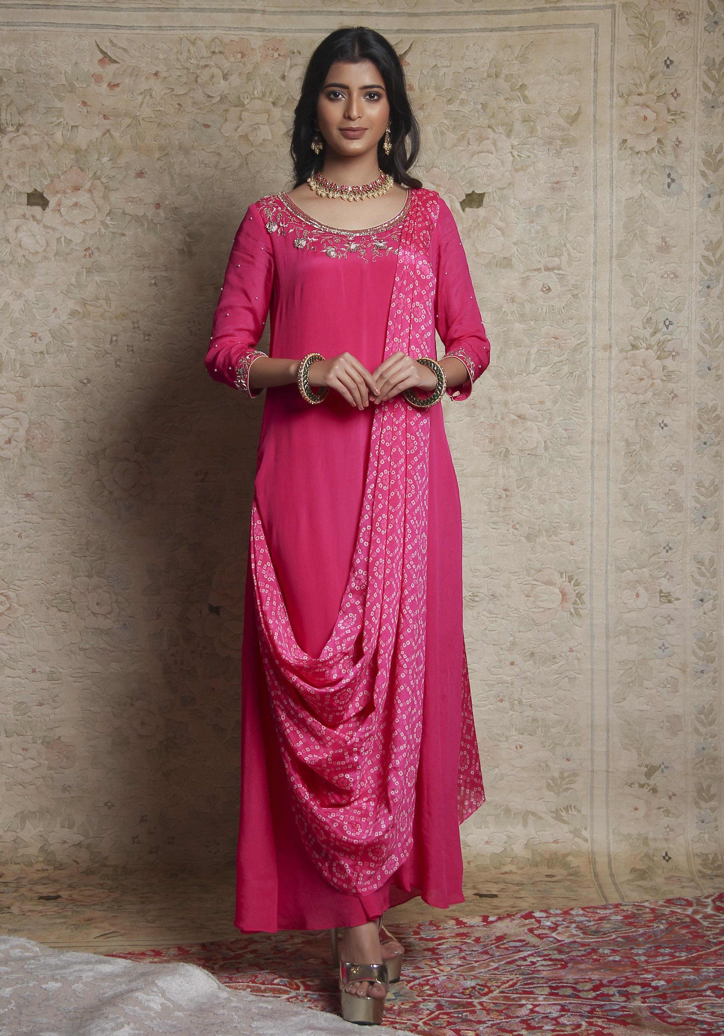 Pink Kurta With Attached Dupatta Set