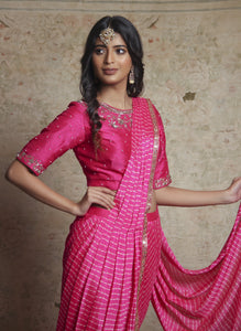 Shweta Tiwari In Pink Leheriya Pre-Draped Sari