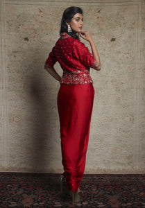 Red Drape With Peplum Jacket Set