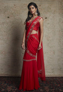 Embroidered Pre-Draped Sari Set