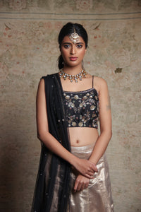 Black & Gold Lehenga Set