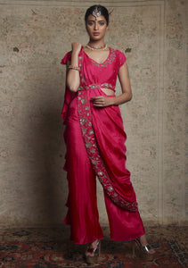 Pink Pre-Drape Saree with Pants