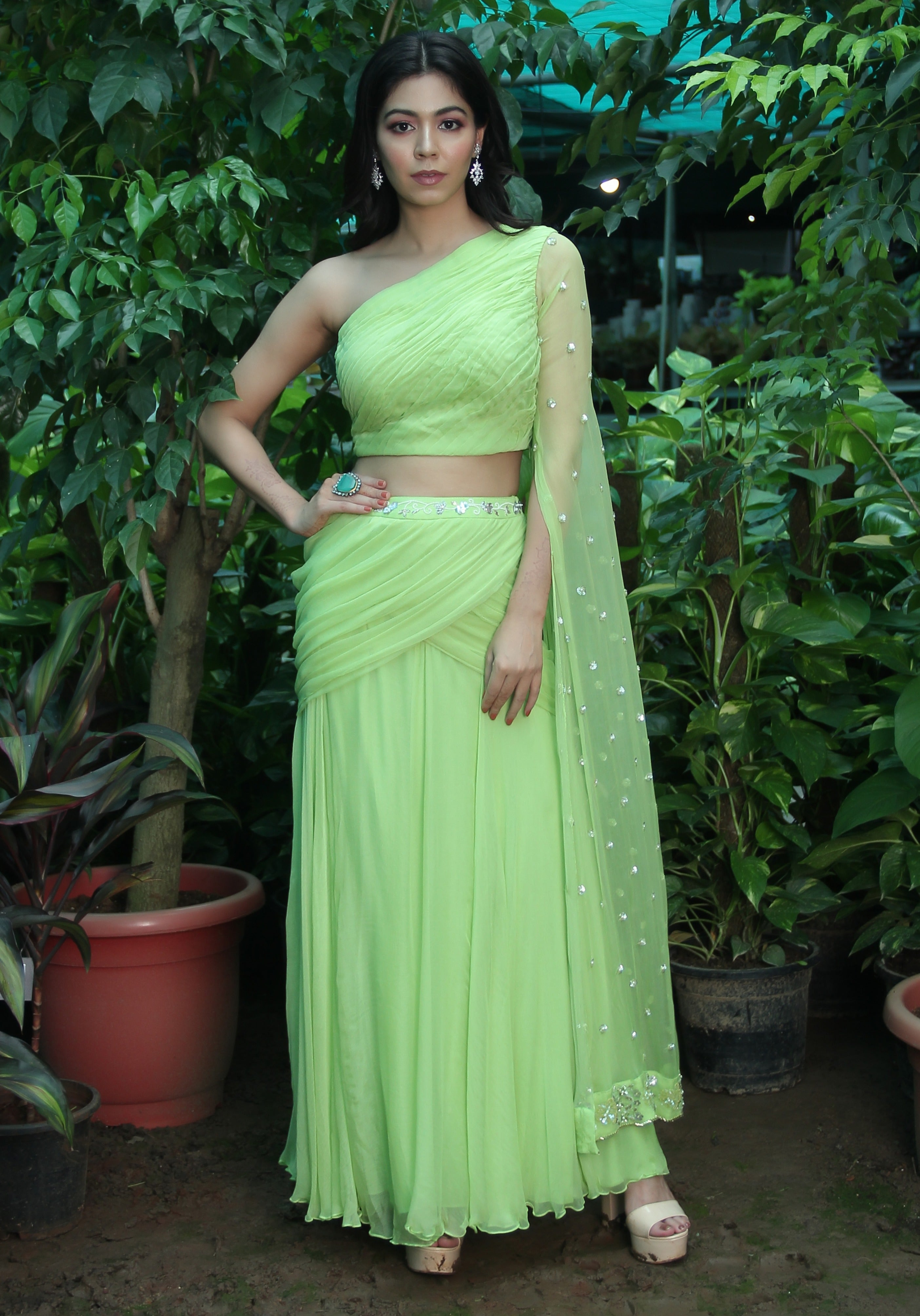 Pastel Green Draped Skirt with Top