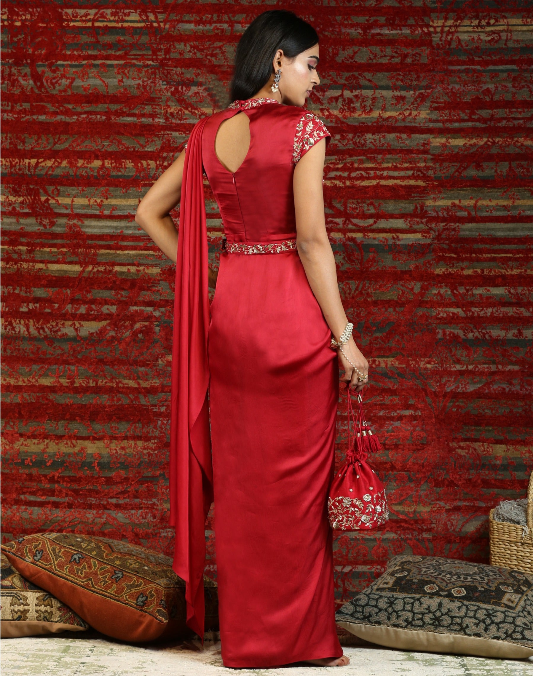 Red Pre-Draped Sari with Belt