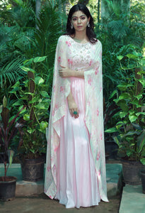 Blush Pink Gown with Attached Layer