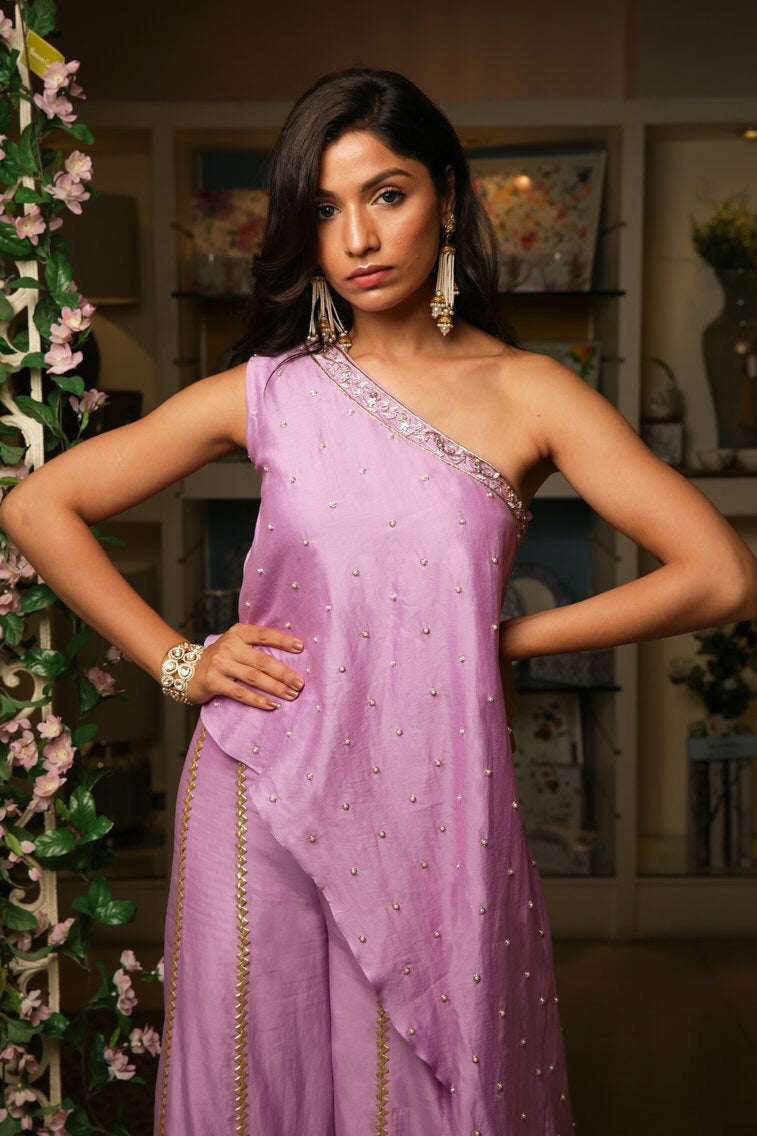 Lilac One Shoulder Tunic with Sharara Set