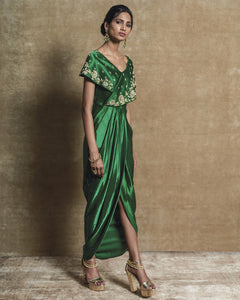 Green Collar Drape Dress