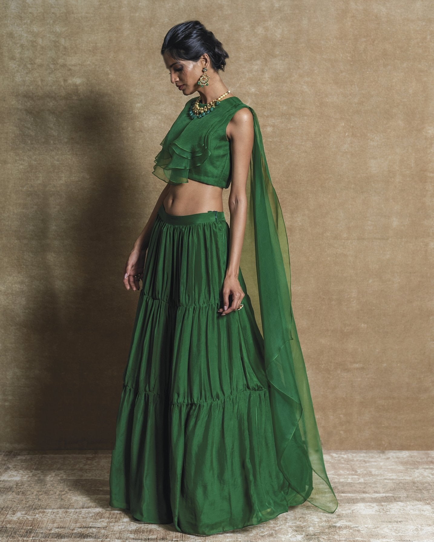 Green Drape Top with Tiered Skirt