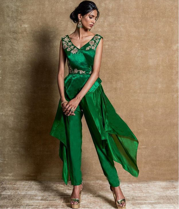Green Peplum top with Pants