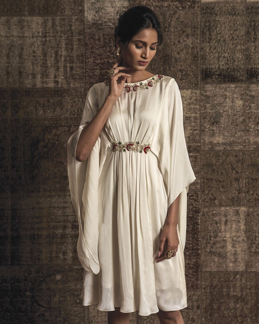 White Pleated Embroidered Dress