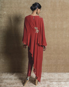 Red Georgette Tunic with Pants