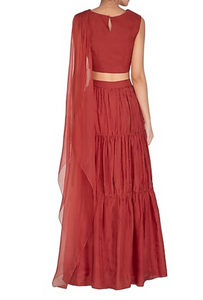 Red Draped Crop Top with Tiered Skirt
