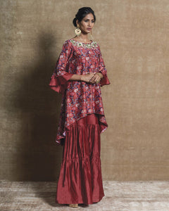 Red Printed Embroidered Gharara Set
