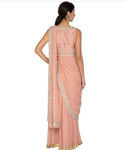 Peach Embroidered Pre-Draped Sari Set