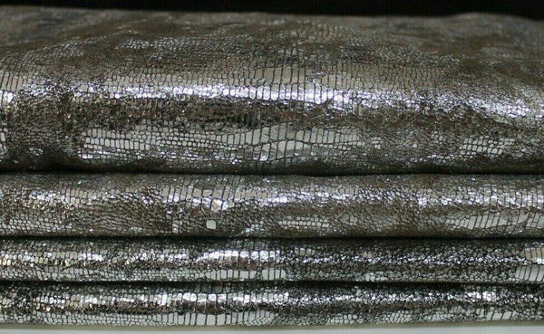 METALLIC SILVER REPTILE DISTRESSED Goatskin leather 2 skins 12sqf 1.1mm #A7268