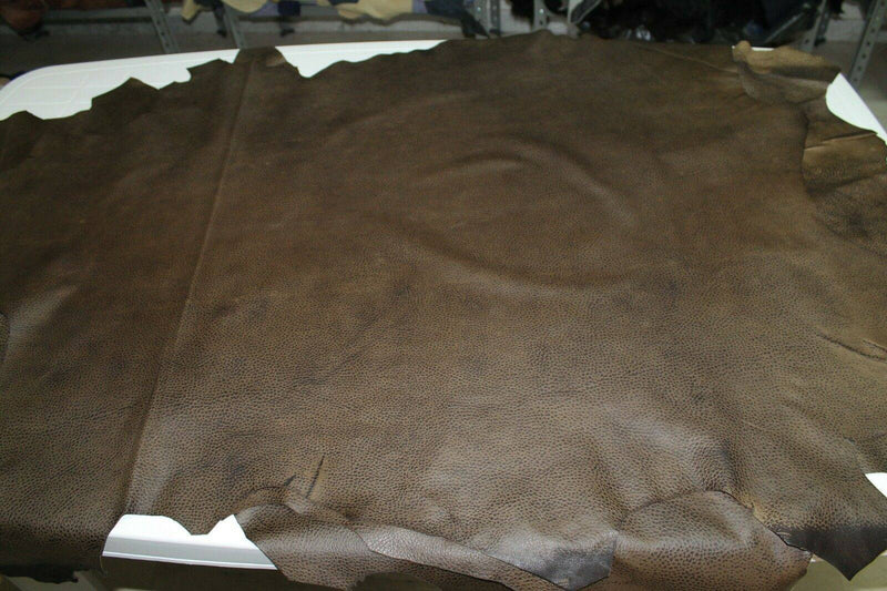 Italian Lambskin leather skins  GRAINY ARMY GREEN MILITARY DISTRESSED 9sqf