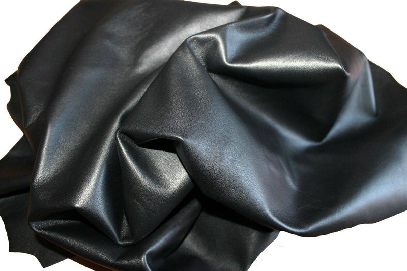 Italian hides Lambskin soft Leather hide skin skins JET BLACK 6sqf