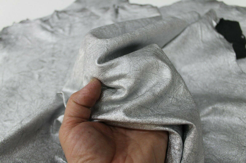 METALLIC SILVER ANTIQUED wrinkle Lambskin leather 2 skins 7sqf 0.6mm #A7028