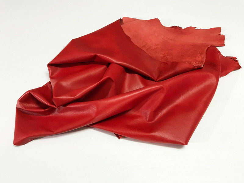 ITALIAN lambskin leather soft hide hides skin skins BEAUTIFUL RED 6sqf