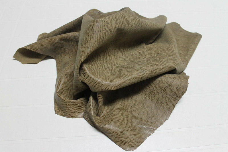 Italian soft lambskin leather skins hides VTG OLIVE BROWN LIZARD PRINT 5+sqf
