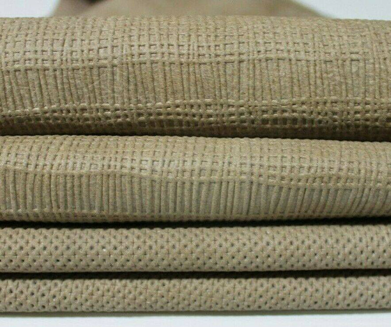 2 TEXTURES BEIGE STRETCH Italian Lambskin leather 2 skins 10sqf 0.6mm #A5174